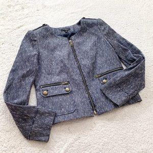 Ann Taylor chambray tweed full zip blazer jacket